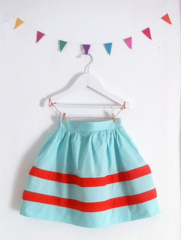folk skirt blue